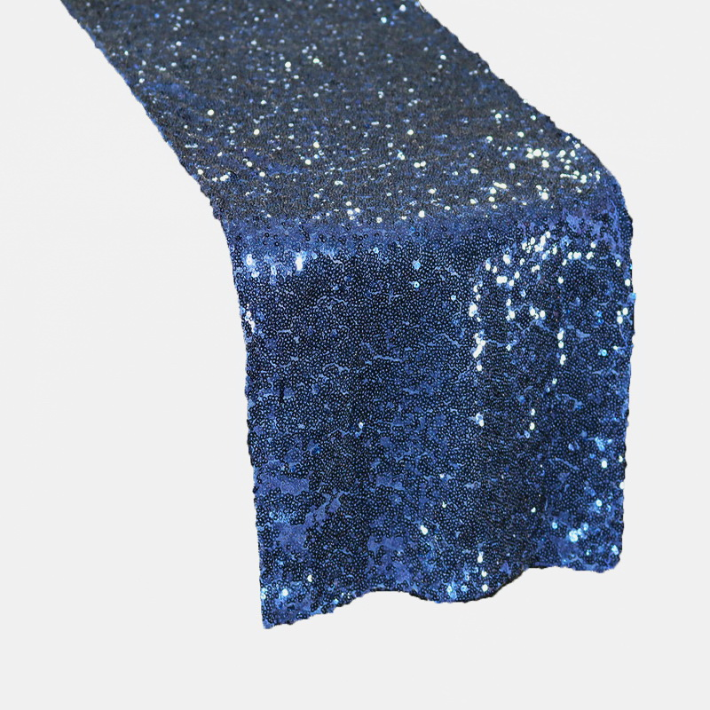 High Quality Navy Blue Shiny Sequin Table Runner For Wedding Event Party Banquet Table Cover Sequin Tablecloth Decoration