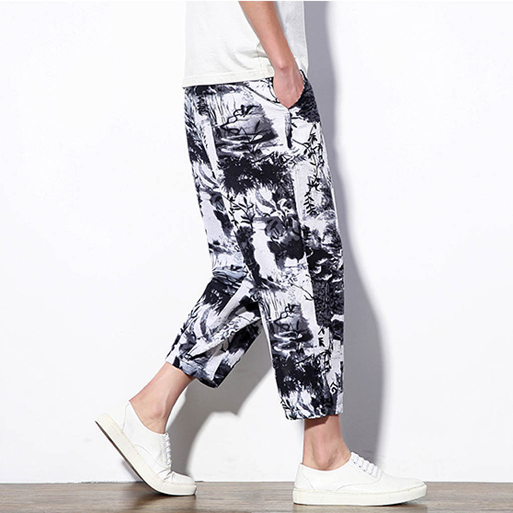 Fashsiualy Pant Linen Printing Loose Ankle-Length Leisure Men's Summer Ethnic-Style Hombre