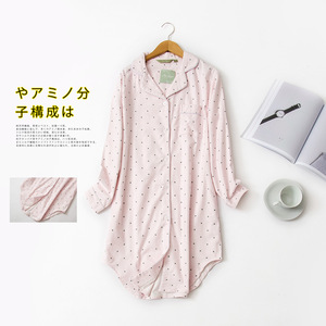 Image 2 - Autumn Stripe Polka Dot Sexy Women Sleepshirts 100% Brushed Cotton Fresh Simple Nightgowns Women Sleepwear Nightdress Nightwear