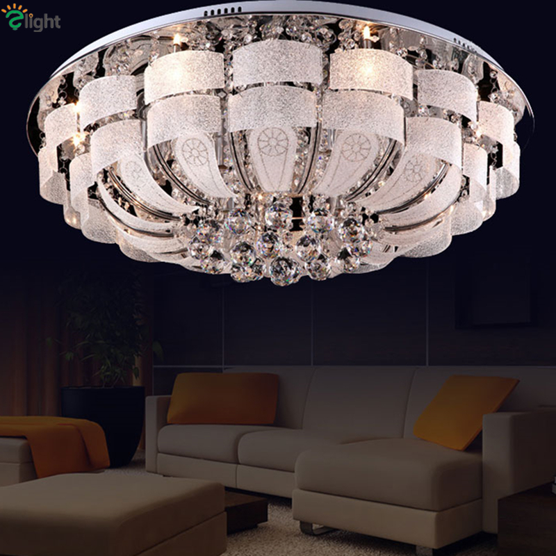 Modern Remote Control Round Crystal Led Ceiling Light Luxury Lustre K9 Cristal Plate Chrome Glass Ceiling Lamp For Foyer