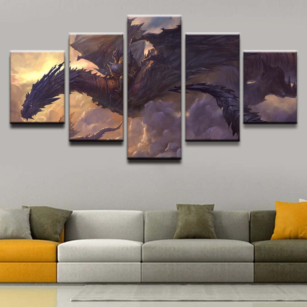 5 Panel DOTA Monster Dragon Decoration Game Poster Modern Canvas Printed Pictures Wall Art Painting On Artwork Home Decor