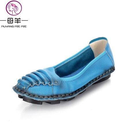 MUYANG китайские бренды весна и осень мокасины женщин плоские туфли женщина Натуральная кожа материнства Повседневная рабочая обувь квартир женщин
