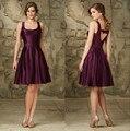 Vestidos de Madrinha Cheap Short Wedding Guest Dresses Satin Purple Bridesmaid Dress Knee Length Custom Made Imported China