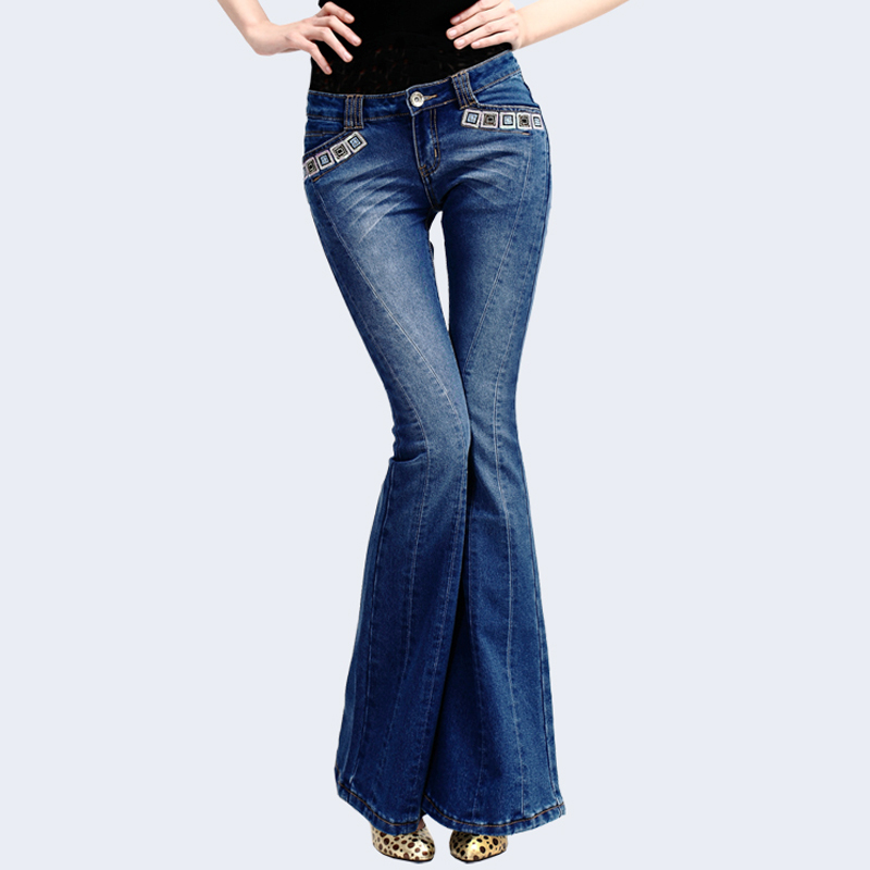 Flare Printemps Denim Pantalon Lavé Femme Pantalons Jeans Élastique Automne Femmes Stretch Paillettes Broderie Bleu Pour q4wqrnt