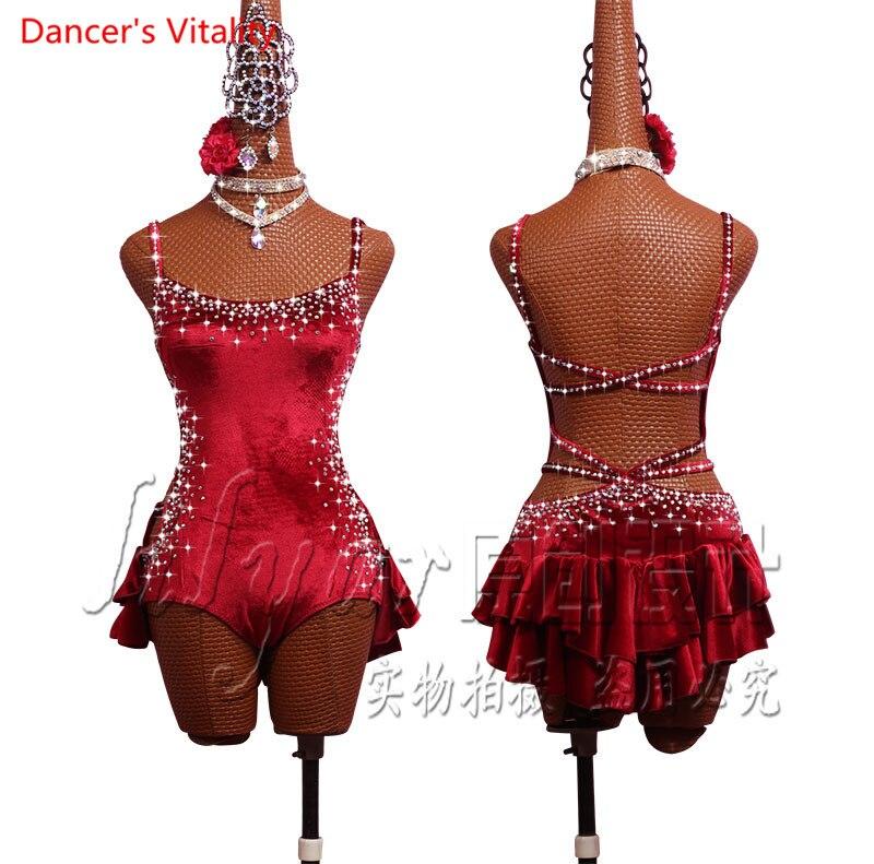 Women Latin Dance Dress Women Ruffle Latin Dance Dress Outfit High Slit Performance Skirt Training Competition Dress Suit Professional Dancewear Costume Set Dancing Dress
