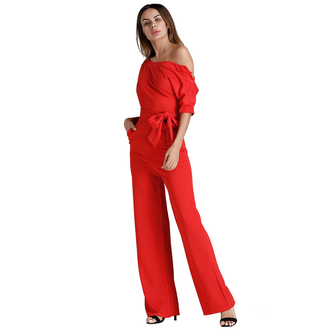 Mono Sexy Fashion Off The Shoulder Elegant Black Jumpsuit Women Plus Size Rompers Womens Jumpsuits Short Sleeve Female Overalls