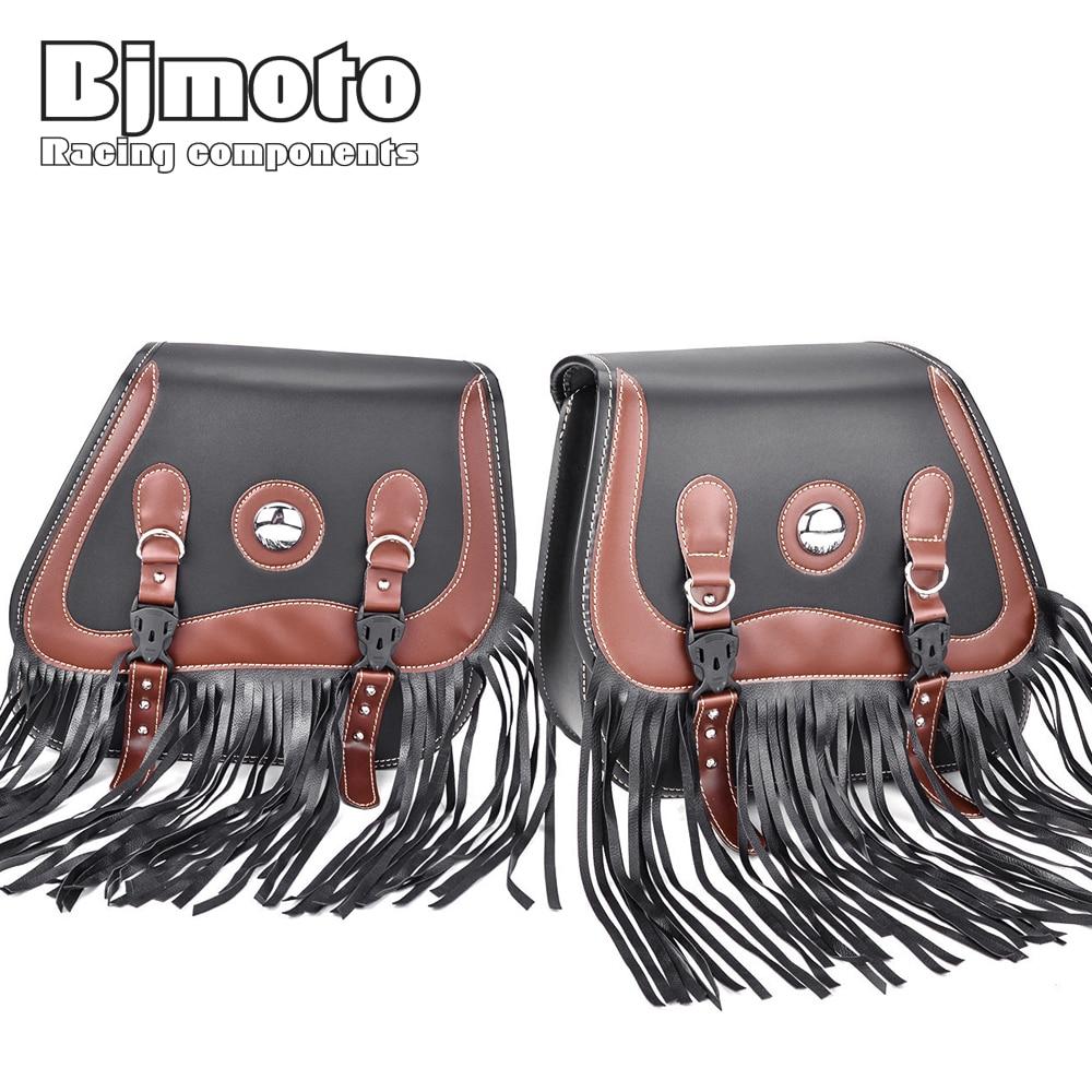 BJMOTO Pair Tassels Motorcycle Saddlebags PU Leather Swingarm Bag Saddle Bags Side Tool Bags Storage For