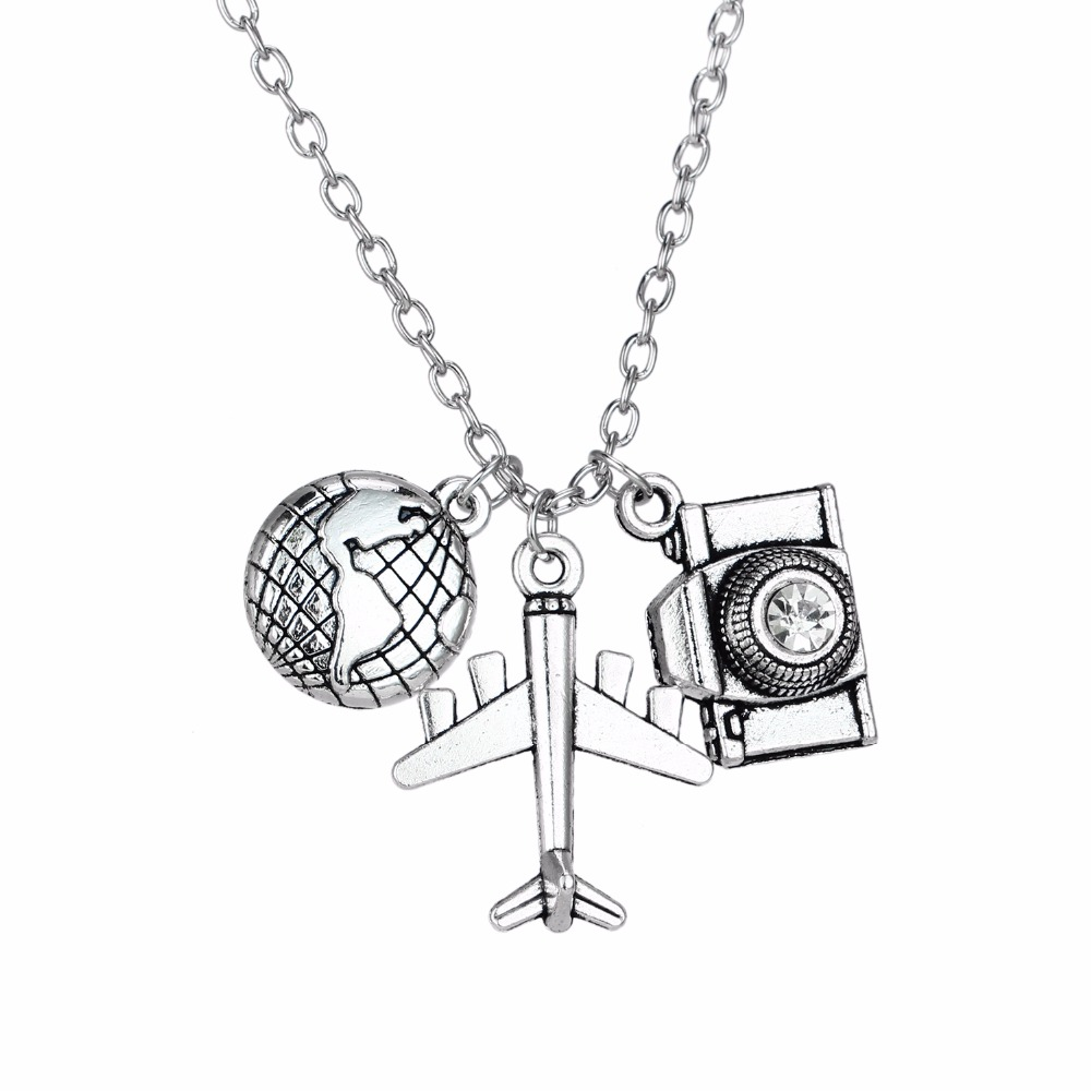 Camera Globe Earth Aircraft Plane Pendant Traveling The World Necklace Women Men Jewelry Gift For Wanderlust Travelers Necklaces