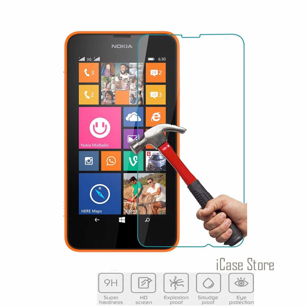9H Hardness Tempered Glass For Microsoft Nokia Lumia 630 635 638 and Dual SIM Screen Protector Explosion-Proof Film + Clean Kits