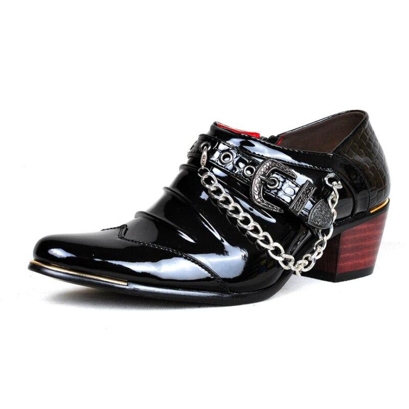 Moda Festa Masculino Sapatos Sapato Homens Zapatos Grosso Casamento Toe Salto Loafers Couro De 6 Vestido Vaca Alto Smash Ponto Cm Da Hombre Oxfords EBqq5