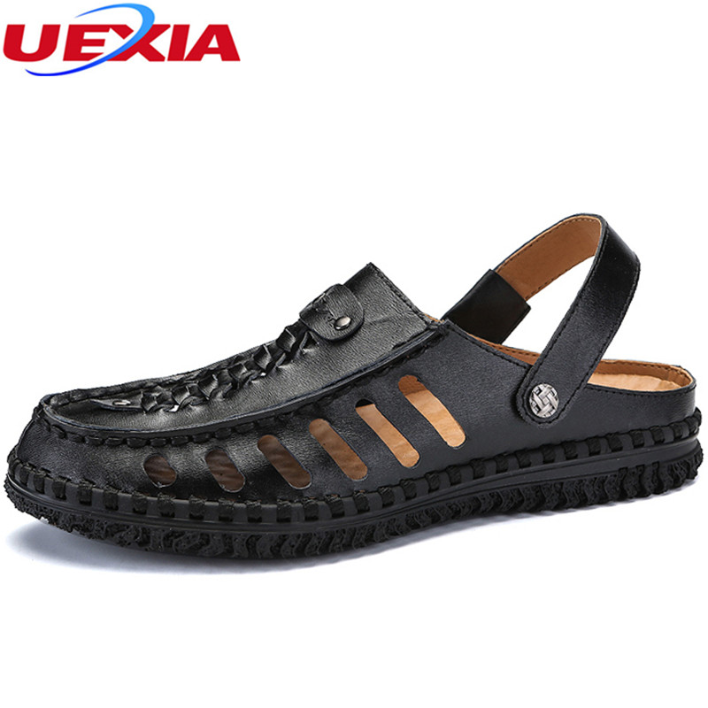 UEXIA Mens Sandals Summer High Quality Brand Shoes Beach Sandals Men Causal Shoes cow Outdoor Hollow Breathable Non-slip Casual