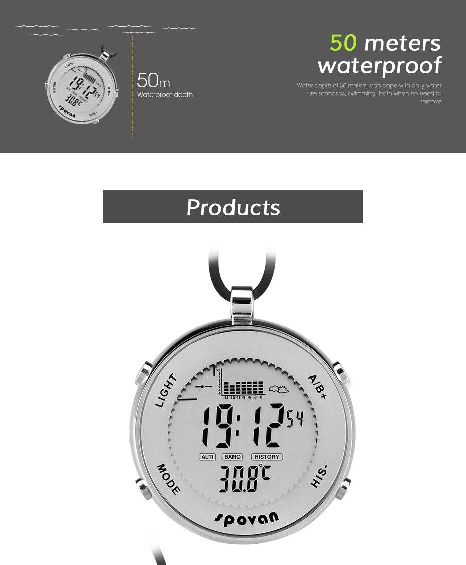 Универсальный электронный Рыбалка давление мужские карманные часы, высота, температура, запись погоды подсветка водостойкие часы