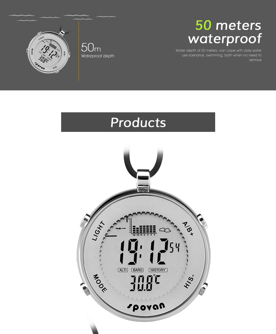 Multifunctional electronic fishing pressure man pocket watch, height, temperature, weather record backlight waterproof watchMultifunctional electronic fishing pressure man pocket watch, height, temperature, weather record backlight waterproof watch