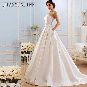 Image 1 - קו שמלות כלה 2020 בציר כיסי קשת סין Vestidos דה Novia ללא משענת בתוספת גודל כפתור הכלה כלה שמלות