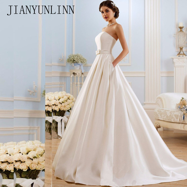 קו שמלות כלה 2020 בציר כיסי קשת סין Vestidos דה Novia ללא משענת בתוספת גודל כפתור הכלה כלה שמלות