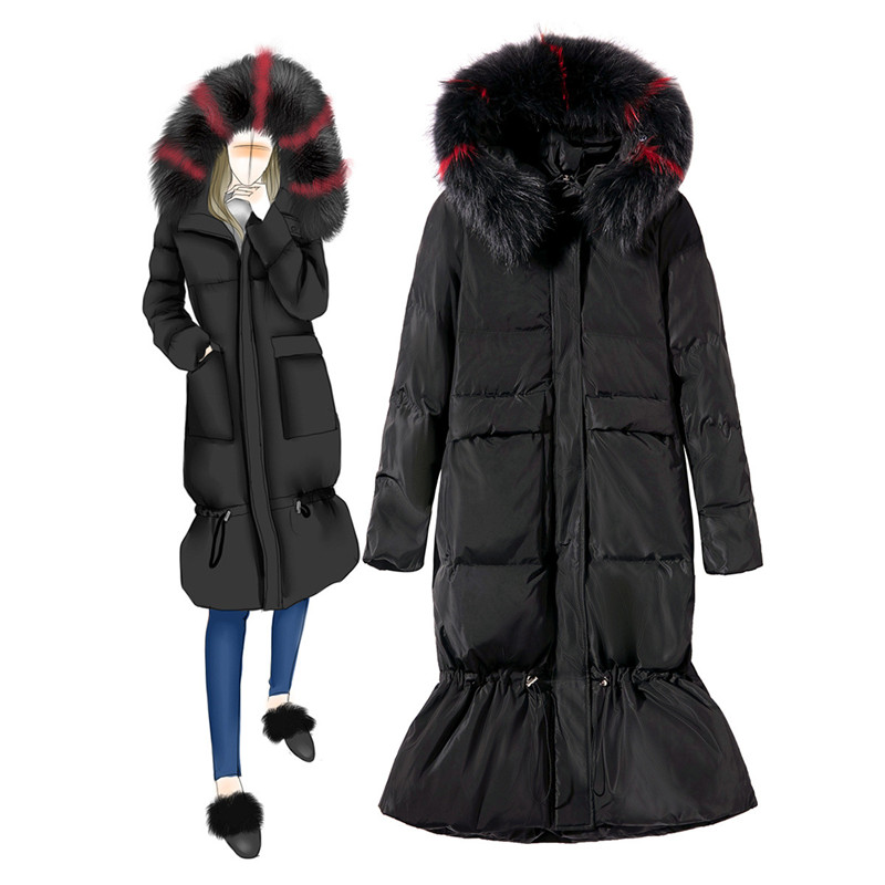 2019 Autumn Winter   Down   Jacket Women Big fur collar Hooded Parkas Long   Coat   Female Thick Warm White duck   down     Coats   Raccoon fur