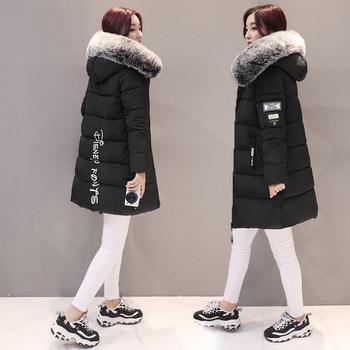 New Women Hooded Warm Coat Winter Jackets Big Fur Collar Hats Long Parka Cotton Padded Jacket Female Womens Wadded Plus Size