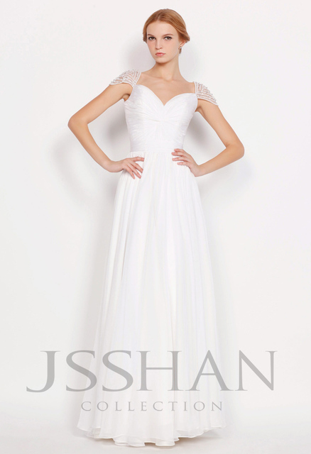 Shoulder Beading A-Line Full Length Chiffon Prom Elegant Gorgeous Unique Brilliant Evening Dress White Prom Dress