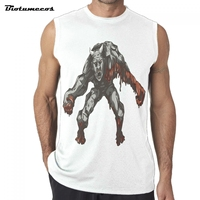 Brand Bodybuilding Tank Tops Sportwear Tanktops Fitness Men Gyms Clothing Sleeveless With Bloody Horned Monster Printed