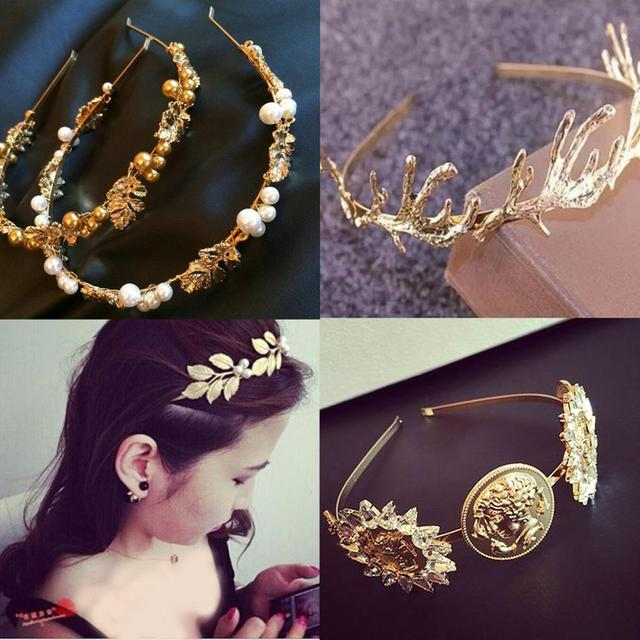 Luxury Baroque Coin Jewel Headband For Women Girls Bride Wedding Leaves Crystal Pearl Hairband Bezel Headwear Hair Accessories