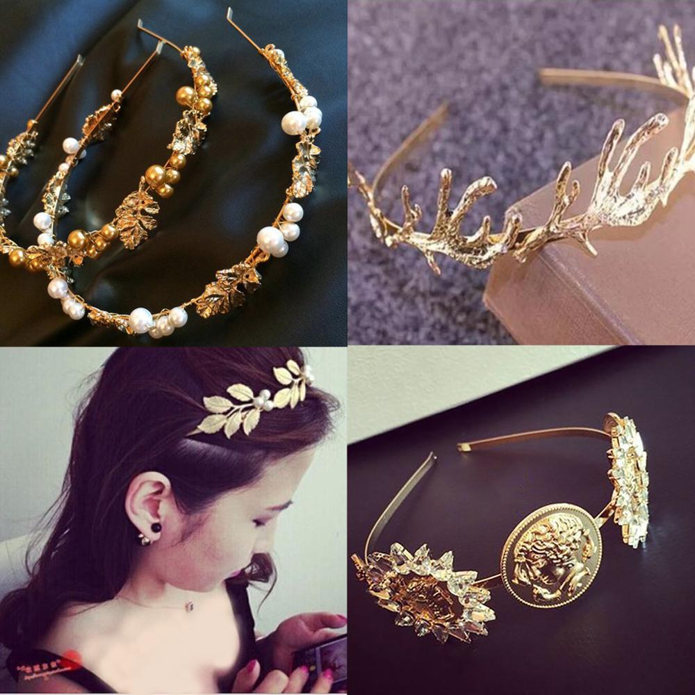Luxury Baroque Coin Jewel Headband For Women Girls Bride Wedding Leaves Crystal Pearl Hairband Bezel Headwear Hair Accessories