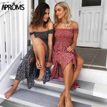 Aproms Sweet Pleated Tube Tunic Maxi Dress Red Floral Off Shoulder High Split Beach Dress Summer 2019 Boho Cool Girls Sundresses - DISCOUNT ITEM  36% OFF All Category