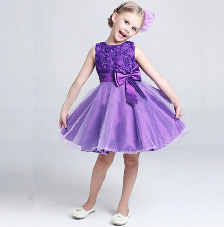 7 Colors Summer Baby Girl Dresses Kids Wedding Gowns Pink Red ...