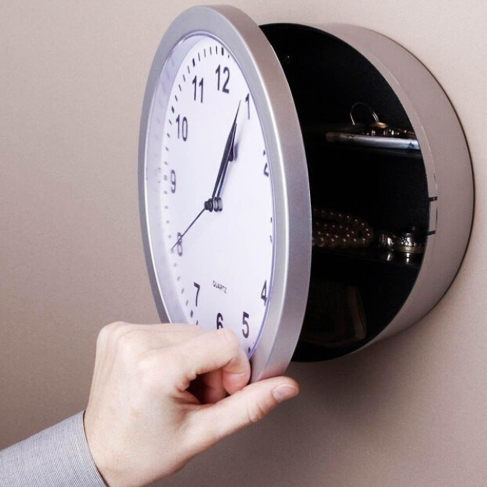 Creative Secret Storage Wall Clock Money Cash Jewellery Keys Safebox Clock Home Decroation Office Security Safe