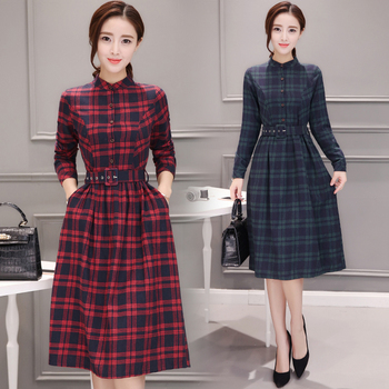 2019 Autumn Winter Plus Size Red Plaid Cotton Midi Dresses Women Elegant Korean Bodycon tshirt Dress Party Long Sleeve Vestidos 1