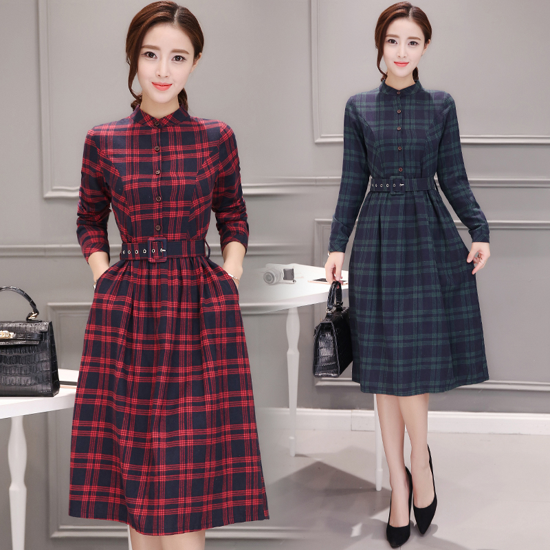 2019 Autumn Winter Plus Size Red Plaid Cotton Midi Dresses Women Elegant Korean Bodycon tshirt Dress Party Long Sleeve Vestidos 75