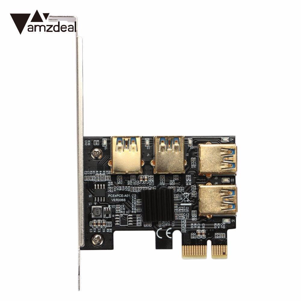 AMZDEAL PCI-E 1X a USB3.0 4 PCI-E 16X Scheda di Espansione Doratura Casa Nero PCB Scheda di Espansione per GPU Mineraria LTC