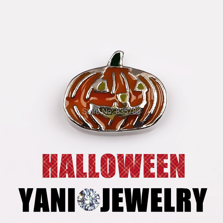 Free Shipping, 20pcs Zinc Alloy Black Halloween--Pumpkin Floating Charms Fit For Lockets, Gifts, Pet Collar