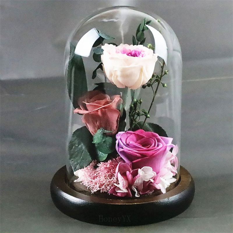 17CM Coffee Forever Rose Flower Preserved Immortal Rose In Glass Vase Cloche Wedding Decorations Centerpiece Unique