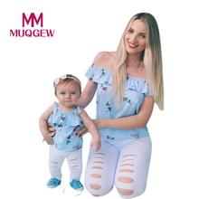 Family matching outfits t shirt Mother and daughter tops Floral Print Off Shoulder Tops T-Shirt Ruffles