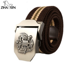 Russian National Emblem Canvas 2017 Fashion Mens Canvas Belt Buckle Metal Tactical Belt Men Strap Belts Canvas Belts  110cm