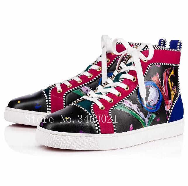 cb41bbd1a ... Элитный бренд граффити кожаные высокие Superstar Sapatos Мужская Обувь  На Шнуровке Туфли без каблуков кроссовки Zapatos