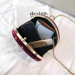Image 5 - 2020Starry sky Circular Fashion Suede Shoulder Bag Chain belt Womens Crossbody Messenger Bags Ladies Purse Female Round Handbag