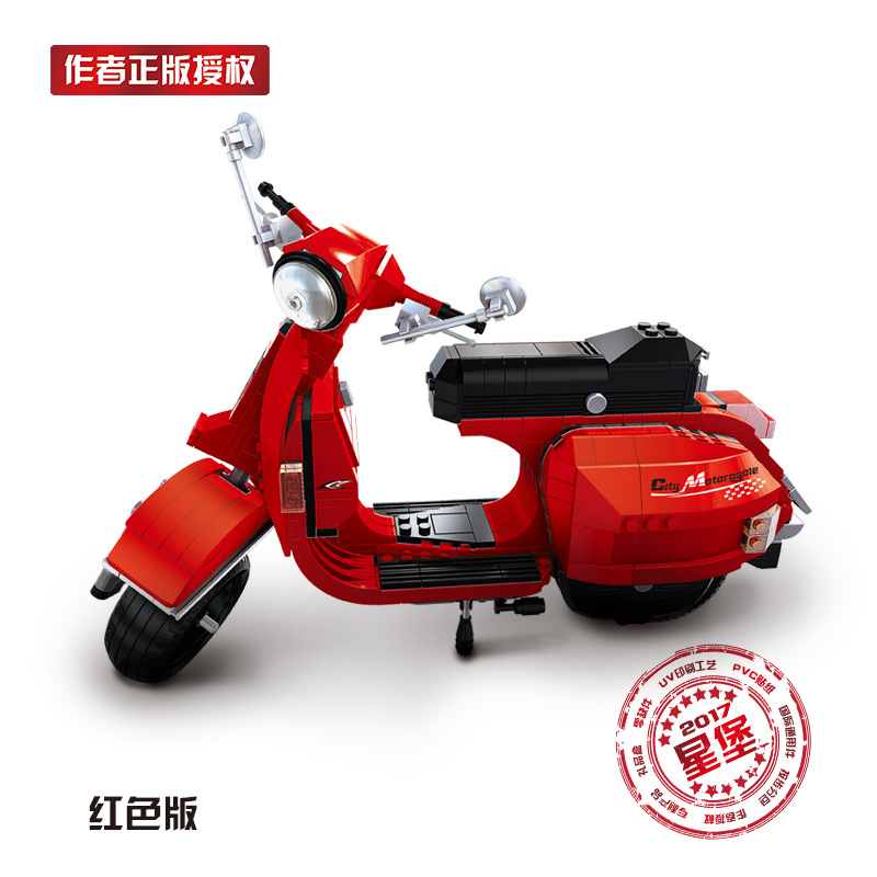 Model building kits compatible with lego Vespa P200 Moto 732 pcs 3D blocks Educational model building toys hobbies for children china brand l0277 educational toys for children diy building blocks 00277 compatible with lego