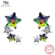 LEKANI Crystals From Swarovski Drop Earring 925 High-End SStar Crystal Earrings Pentagram fine jewelry Simple Gift