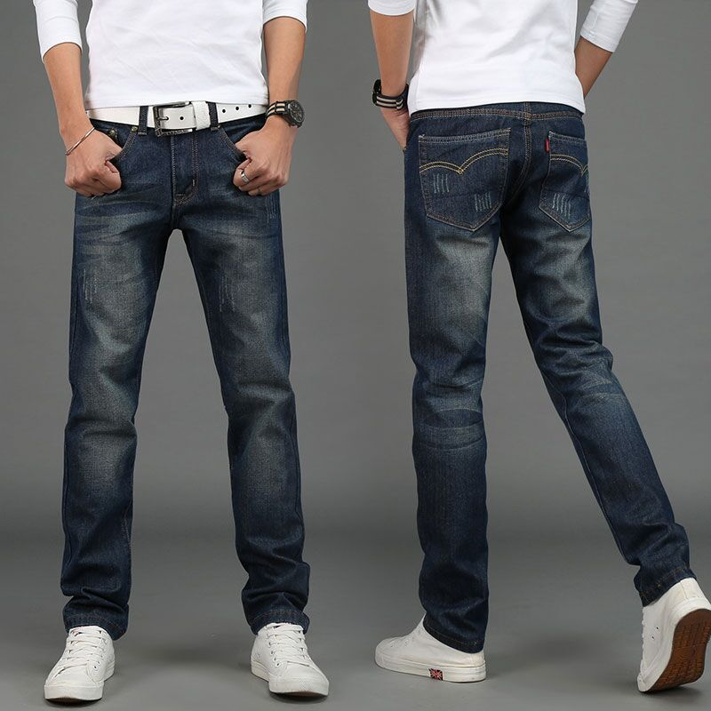 12 Colors Autumn Winter 2018 Male Dark Blue Skinny Jeans Mens Jeans Trend Slim Trousers Male Casual Trousers Large Size 28-40
