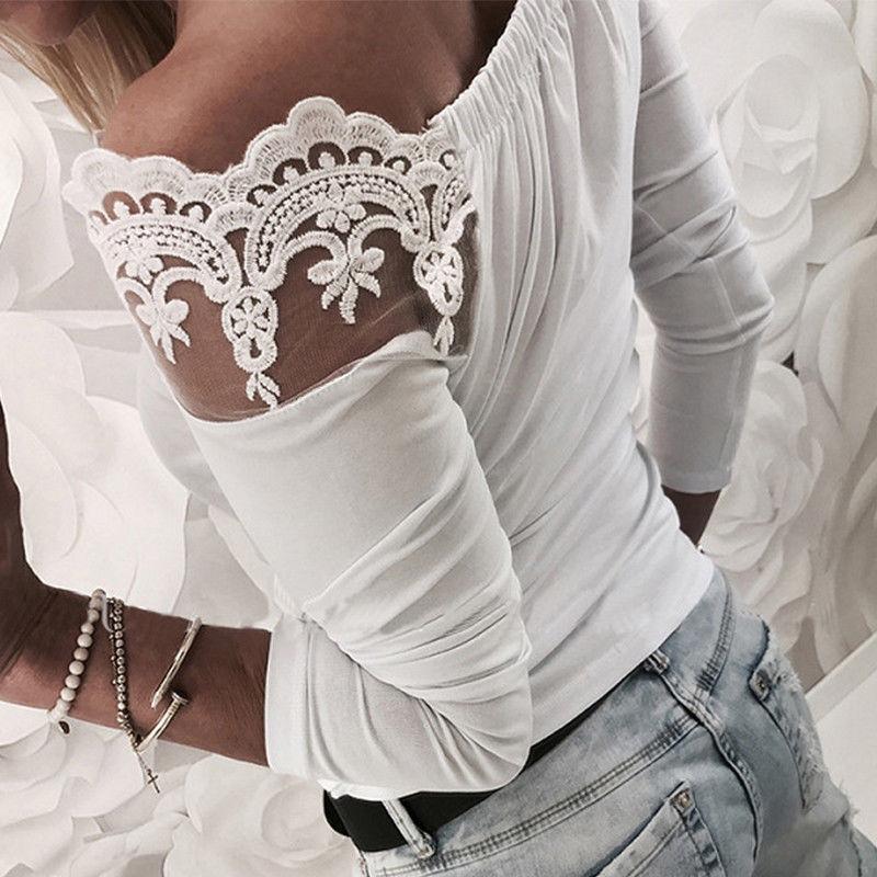 Blusa Manga Mujer xl Tops Camisa Frío Sólido Otoño Sexy Blanco Nuevas Hombro La Mujeres Y S Encaje Slim Larga De Blusas qxwfWHzgFt