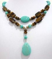 Free shipping@@@@@ A> Lovely! 2Strds Brown Pearl &Blue Turkey stone&Tiger's Eye Necklace a
