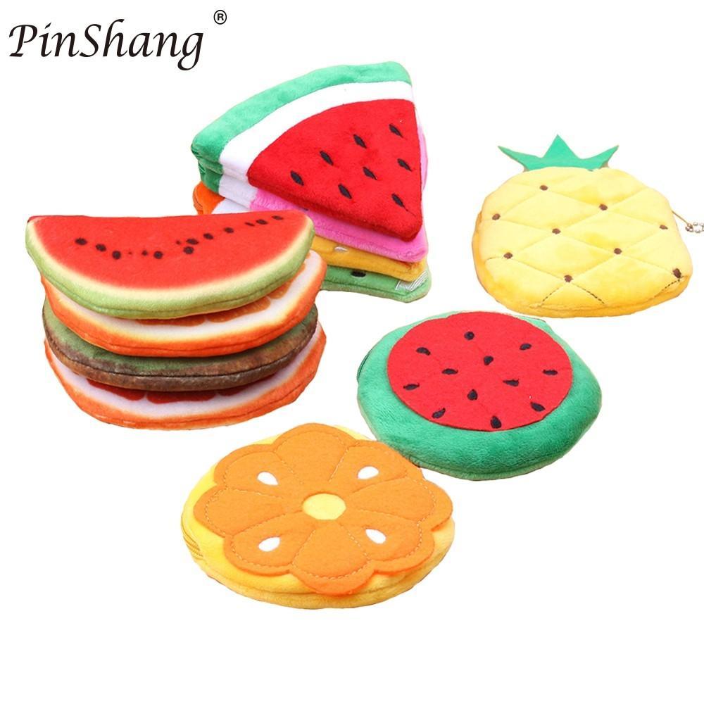 PinShang Womens Cute Cartoon Fruit Hand-take Watermelon Apple Wallet Mini Plush Coin Purse Small Coin Purse Zipper ZK30