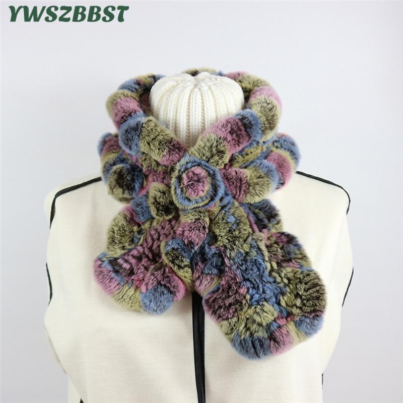 Haute qualité vraie fourrure de lapin femmes écharpe hiver femmes col fille chaud en peluche écharpe dame mode foulard