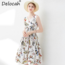 Delocah Women Summer Dress Runway Fashion V-Neck Elastic Waist Butterfly Print Elegant Ladies Casual Midi 100% Cotton