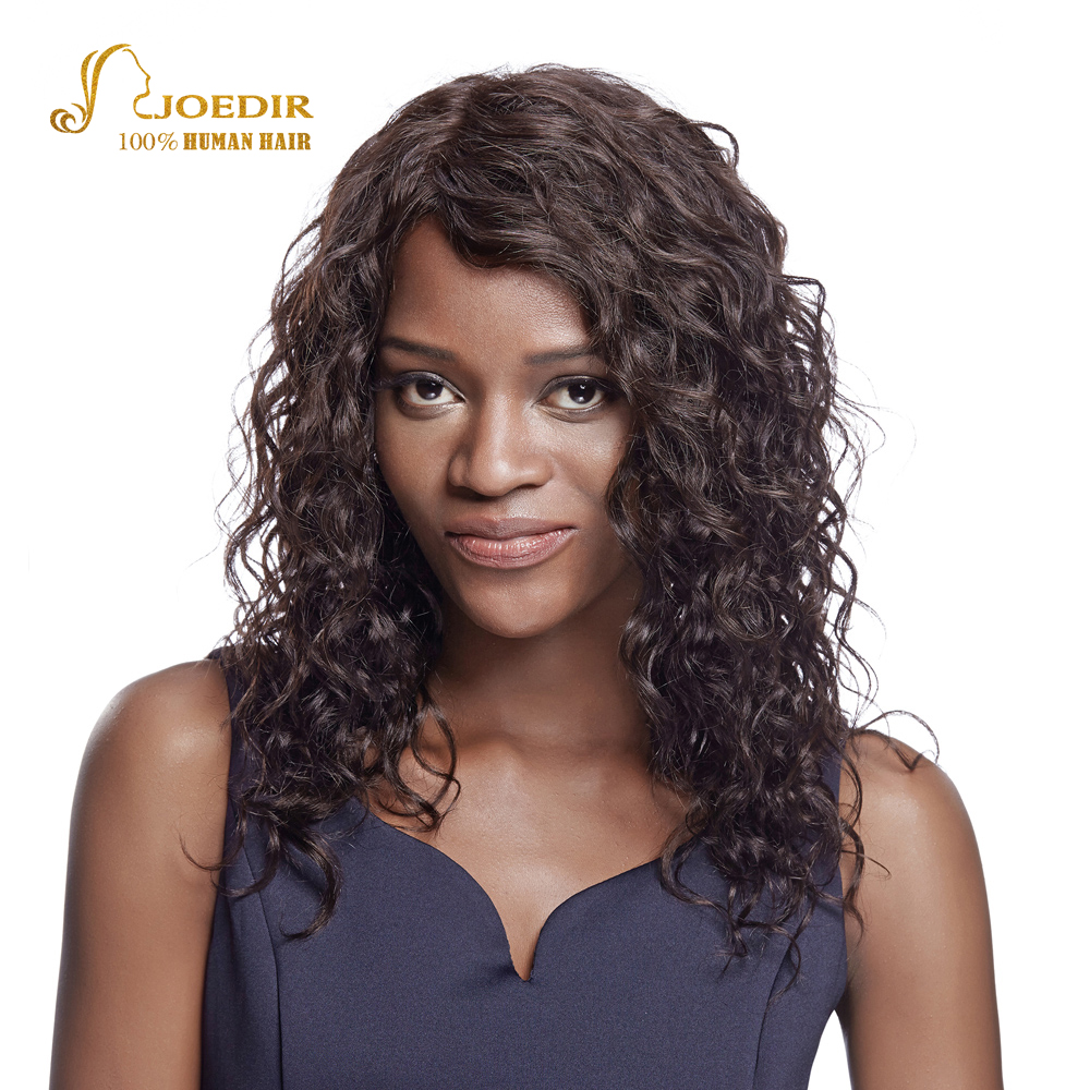 Joedir Human Hair Wigs 100% Curly Human Hair Wigs Sparkle Curl Wigs For Black Women Brown #2 Kinky Curly Wig Free Shipping