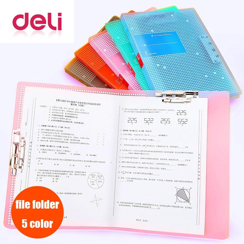 Deli 1pcs File Folder Powerful A3/A4 Double Clip Student Small Fresh Test Paper Clip Document Folders Bag Office Supplies