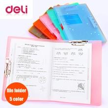 купить Deli 1pcs File folder Powerful A3/A4 double clip student small fresh test paper clip document folders bag office supplies дешево