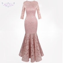 f667867418e215 Angel-fashions vrouwen Sheer Lange Mouwen Lace Avondjurken Bloemen Mermaid  Party Gown Licht Roze 416