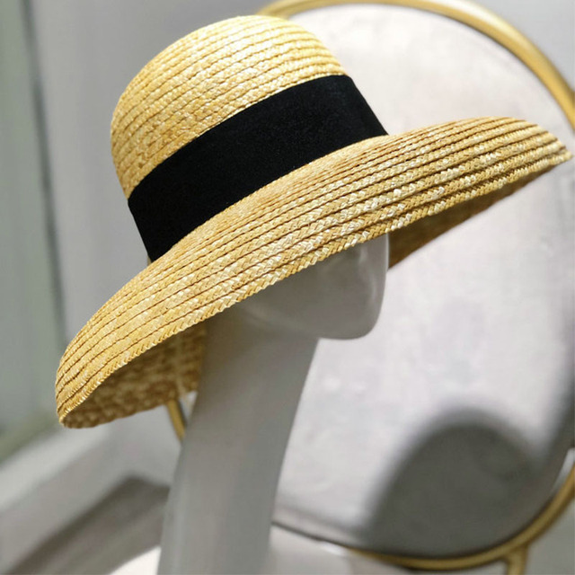 Wide Brim Women Sun Hat Wheat Straw Summer Beach Hat Elegant Cap UV Protection Black long Ribbon Bow Derby Travel Hats
